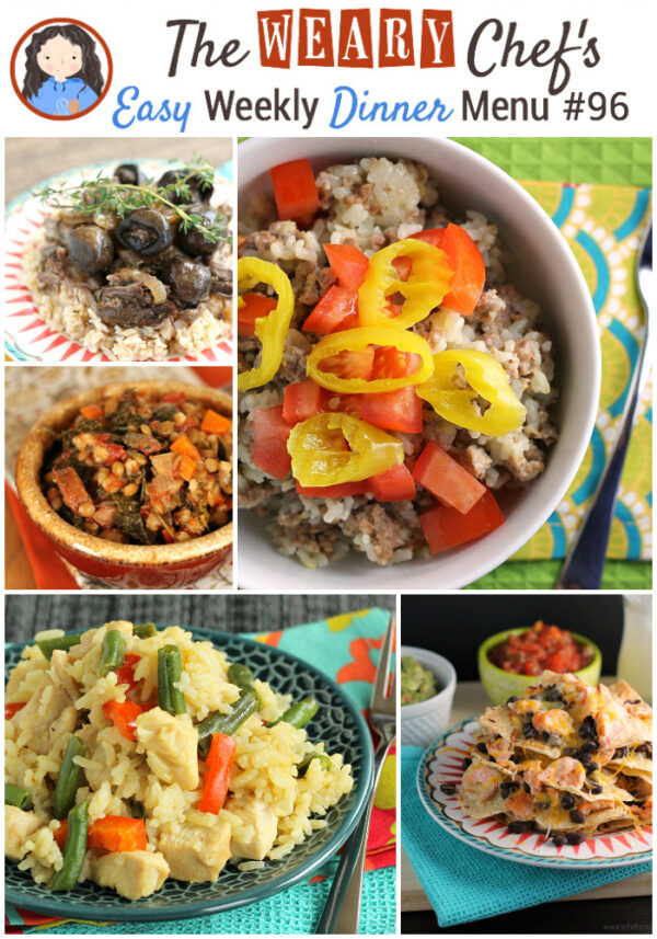 Easy weekly dinner menu featuring Spicy Cheeseburger Rice, Skillet Thai Curry, Salmon Nachos, Tuna Noodle Casserole, and lots more!