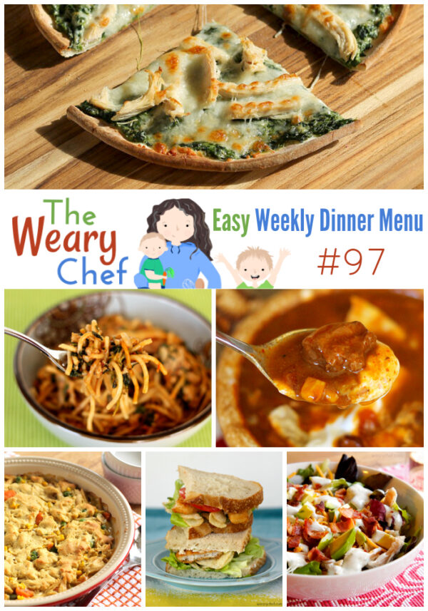 This week's menu features leftover turkey recipes, Slow Cooker Enchilada Soup, Pesto Pork Chops, and many more easy dinner ideas!