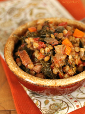 This hearty stew is loaded with sausage, kale, carrots, tomatoes, and lentils. It's a deliciously good-for-you dinner to warm up with on a cool evening!