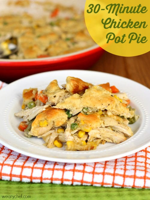 This gorgeous chicken pot pie is ready in only about 30 minutes! Also great with leftover turkey!