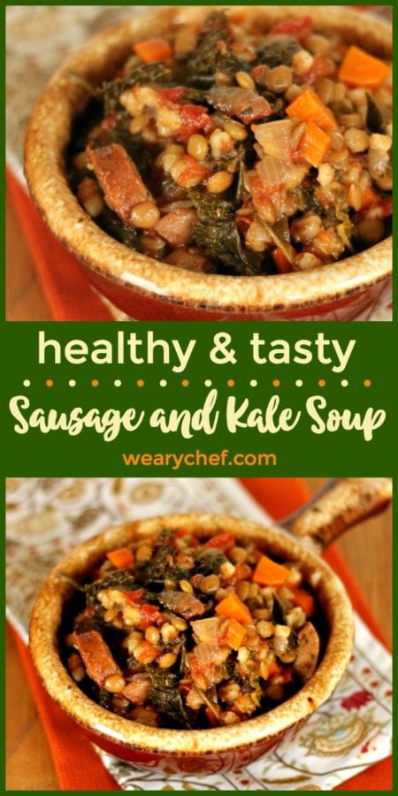 This healthy sausage and kale soup is also loaded with carrots, tomatoes, and lentils. It's a deliciously good-for-you dinner to warm up with on a cool evening!