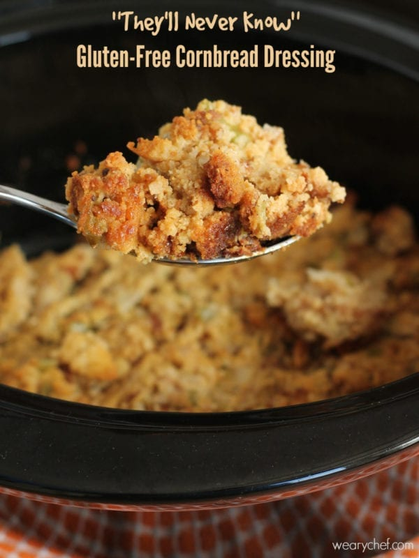 This Gluten-Free Cornbread Dressing is made in your slow cooker and tastes just like the real deal! Perfect Thanksgiving side dish recipe!