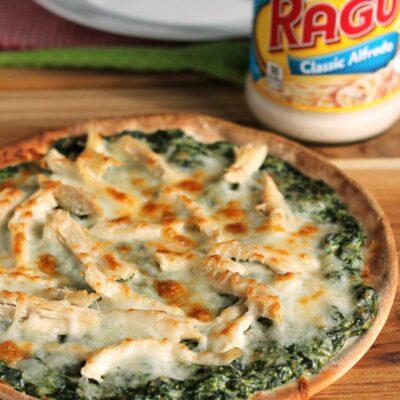 Turkey Spinach Alfredo Pizza