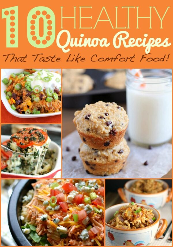Get 10 tasty, healthy quinoa recipes including muffins, buffalo chicken bowls, quinoa corn chowder, and lots more!