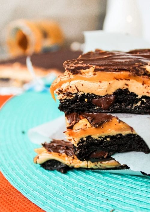 Snickers Brownie Bars by The Food Charlatan