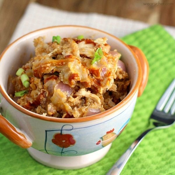 BBQ Chicken Quinoa Skillet Dinner - written by The Weary Chef for Love Bakes Good Cakes