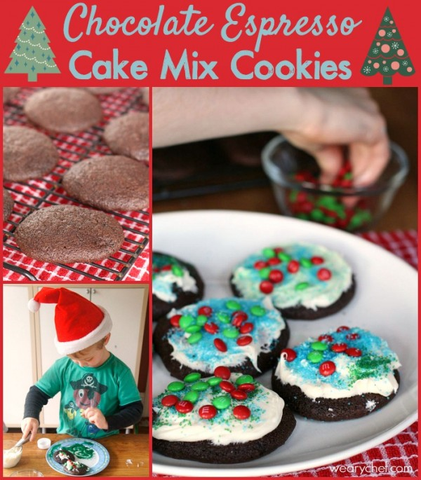 Chocolate Espresso Cake Mix Cookies - These easy cookies are perfect for decorating with your kids! #HolidayBaking