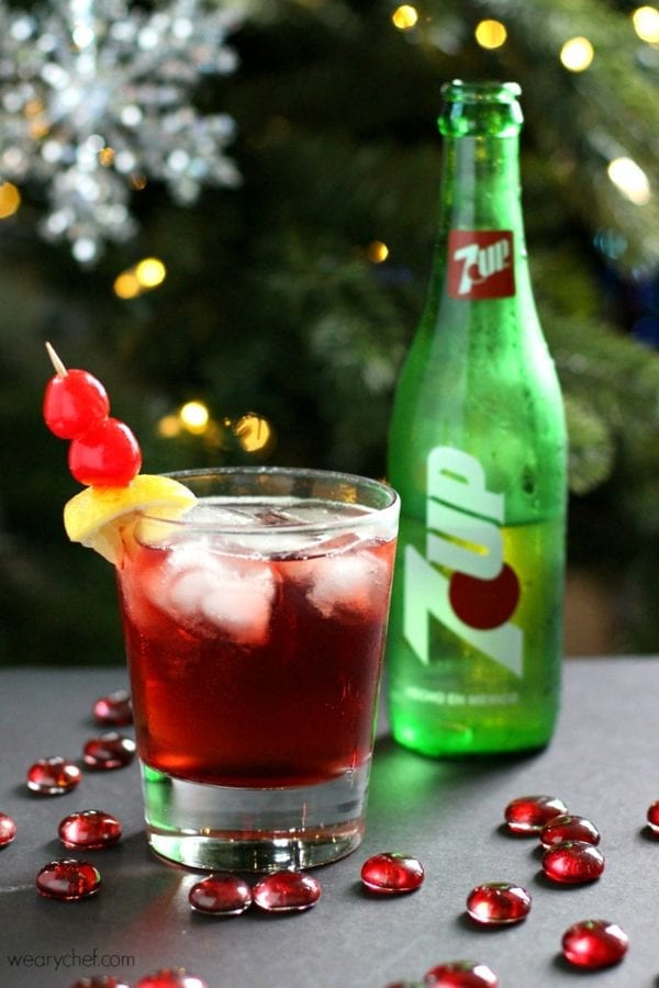 This Cinnamon Cherry 7UP with Bourbon might be the best Cherry 7UP EVER! Perfect for holiday cocktail parties!