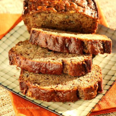 Cinnamon Banana Bread with Chocolate Toffee