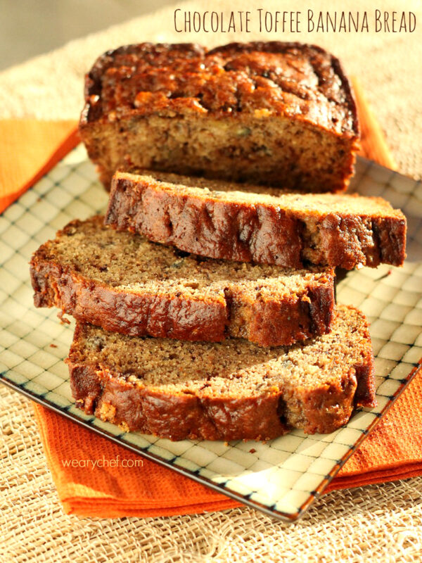This Cinnamon Banana Bread is loaded with buttery toffee pieces for a delicious breakfast or dessert treat!