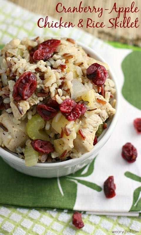 Cranberry Apple Chicken and Rice Skillet Dinner by The Weary Chef