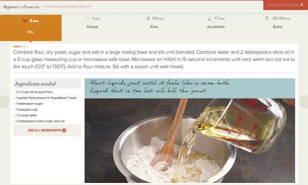 Sample of Fleischmann's Smart Recipe Feature