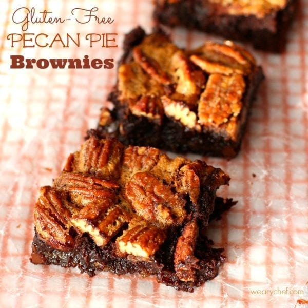 These easy Gluten-Free Pecan Pie Brownies combine two favorite desserts into one gooey, chocolatey treat!
