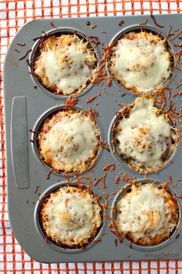 These gluten-free Quinoa Meatball Pizza Cups are a perfect appetizer for a party or fun family dinner!