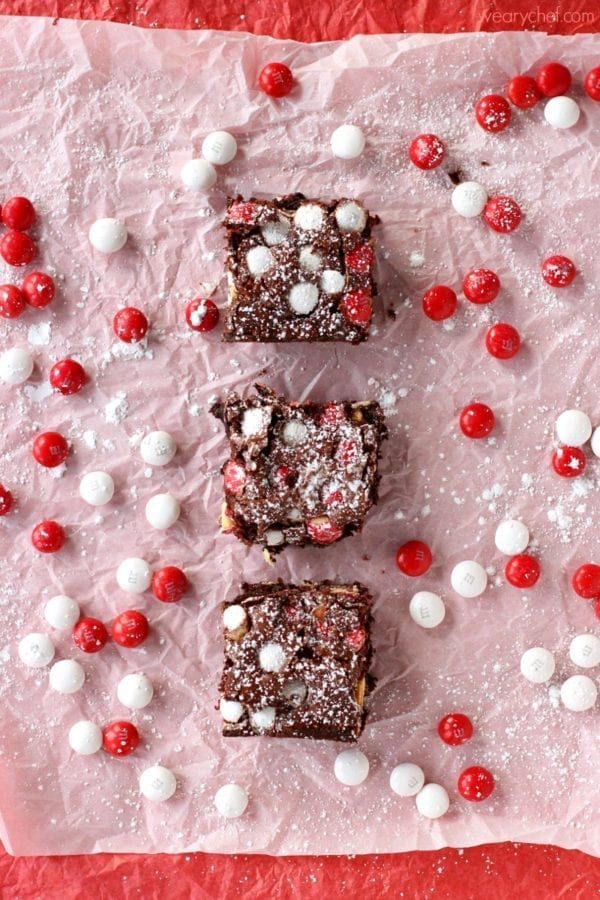 These White Chocolate Peppermint Brownies are quick and easy to make and include coffee for a peppermint mocha flavor perfect for the holidays! #HolidayBaking