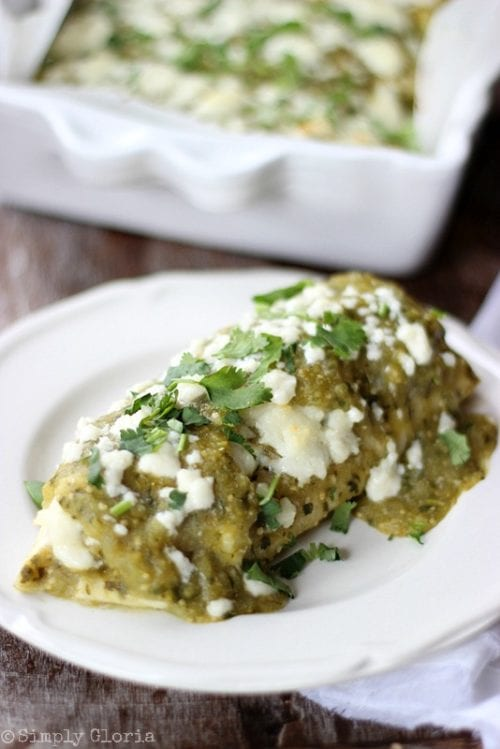 Chili Verde Enchiladas by Simply Gloria