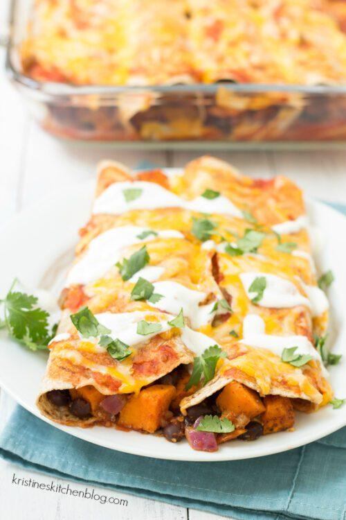 Sweet Potato and Black Bean Enchiladas by Kristine's Kitchen