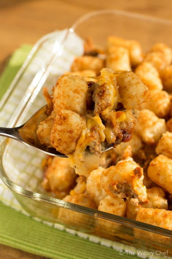 BBQ Tatertot Casserole is a hearty and easy dinner that would even fill up a hungry cowboy!