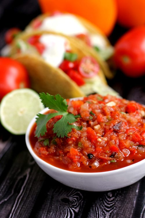 Easy Roasted Vegeble Salsa by Melanie Makes