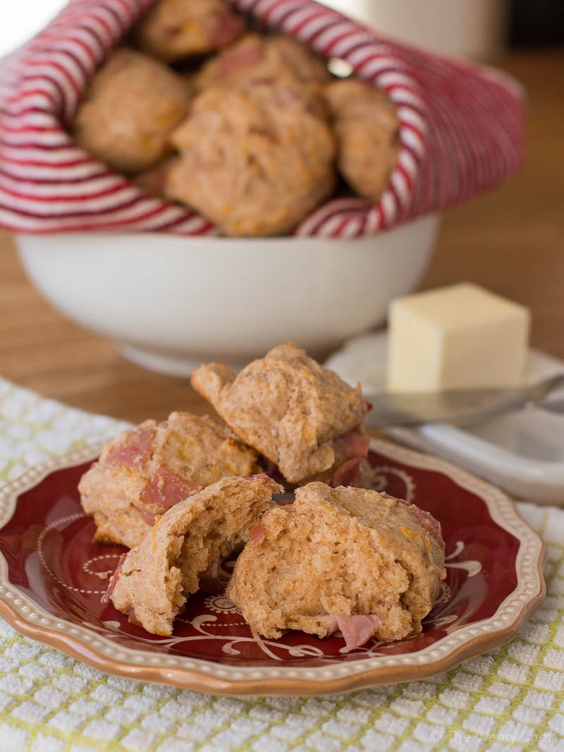 These easy ham and cheese yogurt biscuits are made from scratch but quick to make even on a weekday morning!