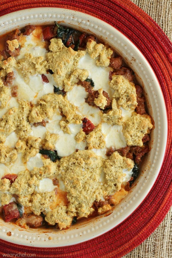This easy Sausage Pizza Pot Pie is a new spin on pizza that makes a fun family dinner!