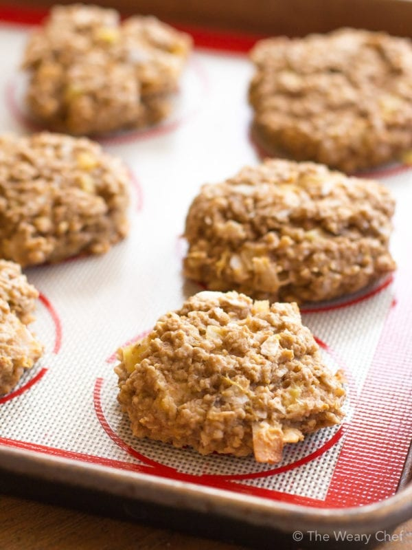 Tropical Oatmeal Breakfast Cookies loaded with pineapple and coconut are dairy free and made with no added sugar!
