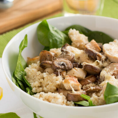 Warm Spinach Salad with Chicken and Lemon Dressing