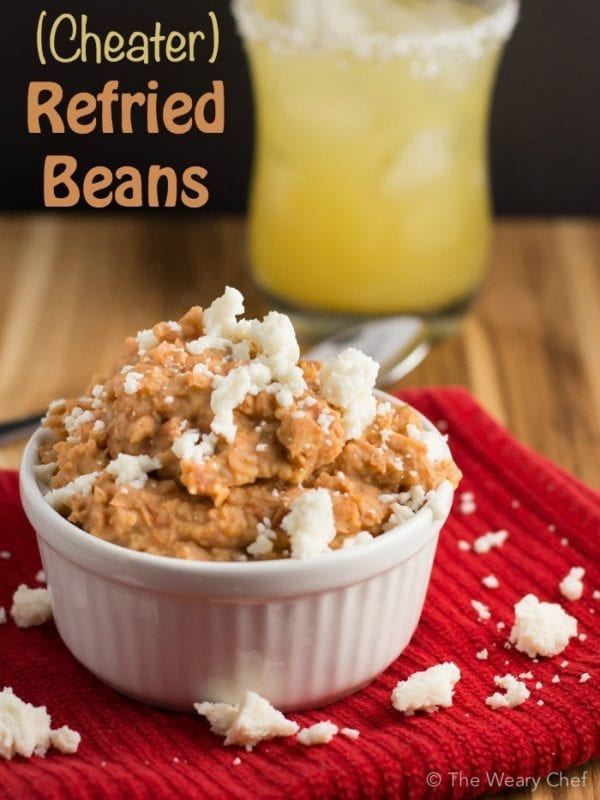 These cheater refried beans are made with a food processor. Ready in only 10-15 minutes!