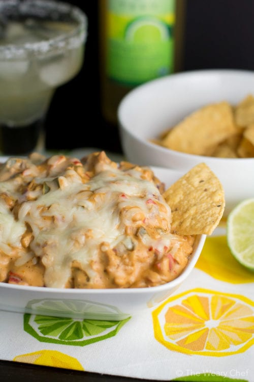 This easy fajita chicken cheese dip goes great with organic margaritas!