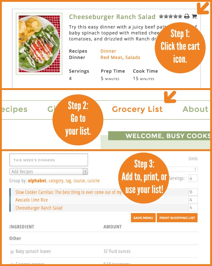 You can now create custom grocery lists on The Weary Chef!