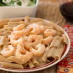 Lightened Up Shrimp Scampi Alfredo