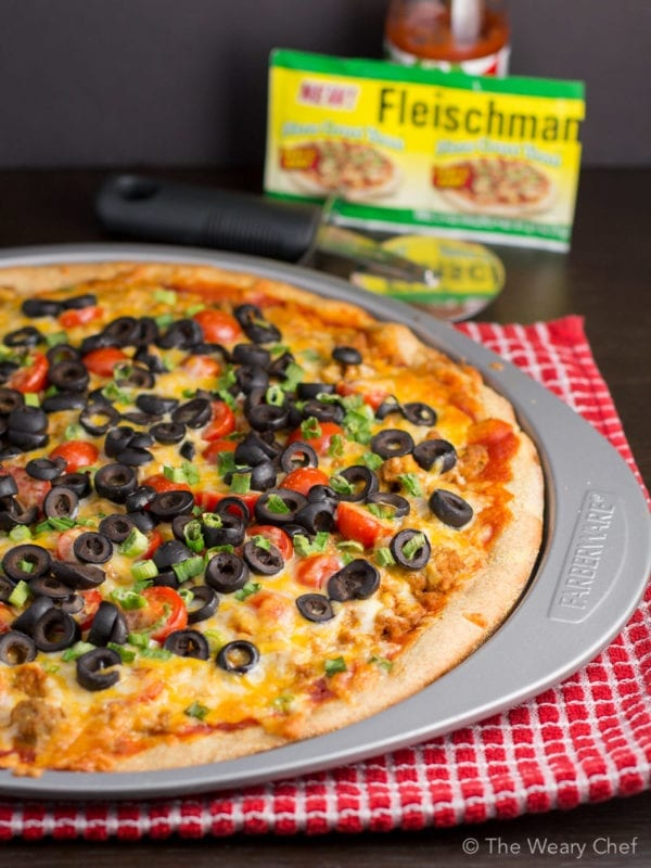 This irresistible Taco Pizza has an easy cornmeal crust that requires no rising time!