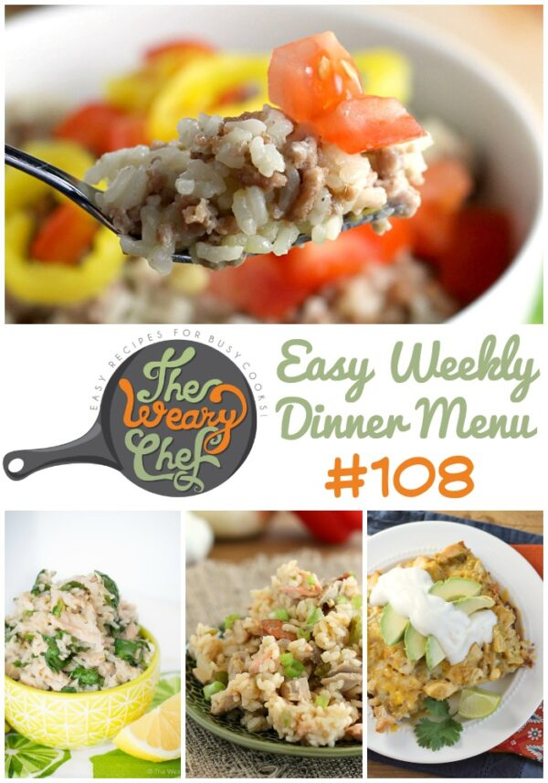 This week's menu is full of easy rice recipes including Lemon Rice with Tuna, Enchilada Rice Casserole, Easy Jambalaya, and lots more!