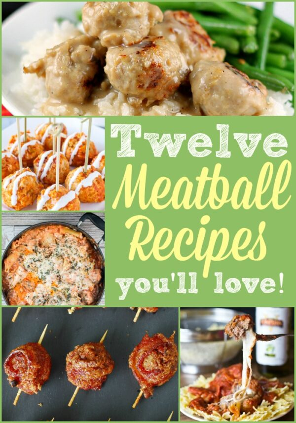This list of twelve Meatball Recipes has everything a meatball lover could want including teriyaki, cheese stuffed, and Buffalo meatballs to name a few!