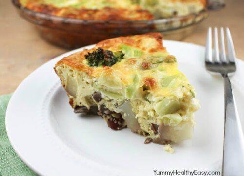 Roasted Mushroom and Potato Cheese Frittata by Yummy Healthy Easy