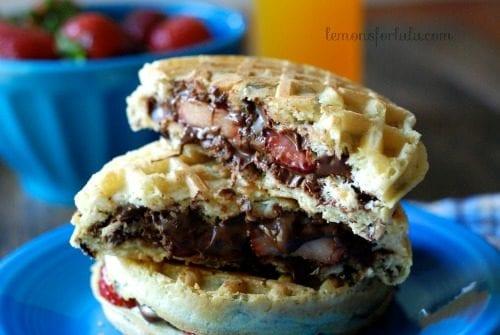 Nutella Strawberry Waffle Sandwiches by Lemons for Lulu