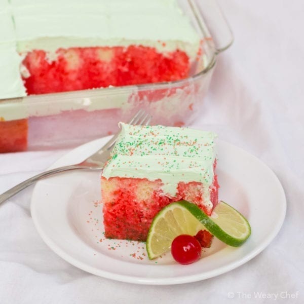 This Jello Cake is super easy to make and just right for birthdays, potlucks, or BBQs!
