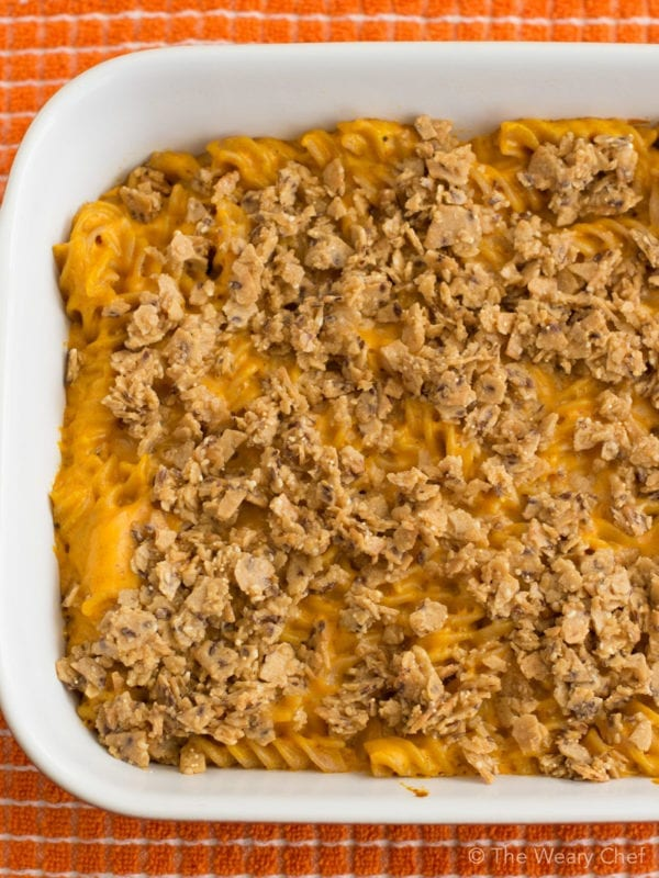 This baked, creamy mac and cheese uses a healthier alternative to butter and has a hidden vegetable too!