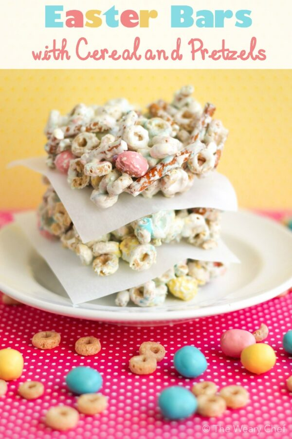 These cheerios bars have pretzels and M&Ms for a festive treat that's easy to make for any holiday!