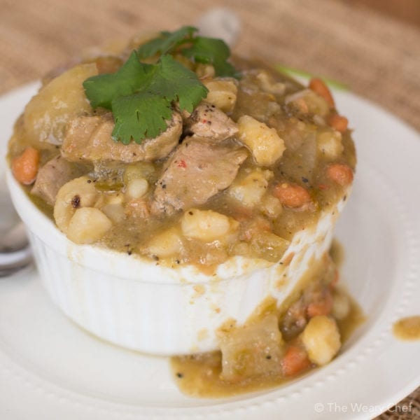Don't miss this easy Pork Chile Verde Recipe! You will love this winter warmup dish that only calls for a few ingredients and less than 10 minutes of prep time.