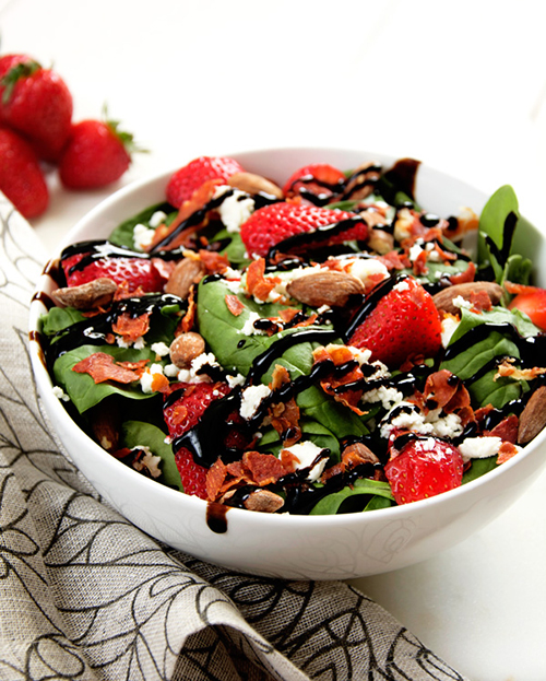Goat cheese, strawberry and prosciutto salad by The Housewife in Training Files