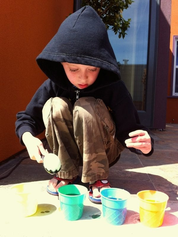 Color eggs outside to reduce the worry about spilling dye!