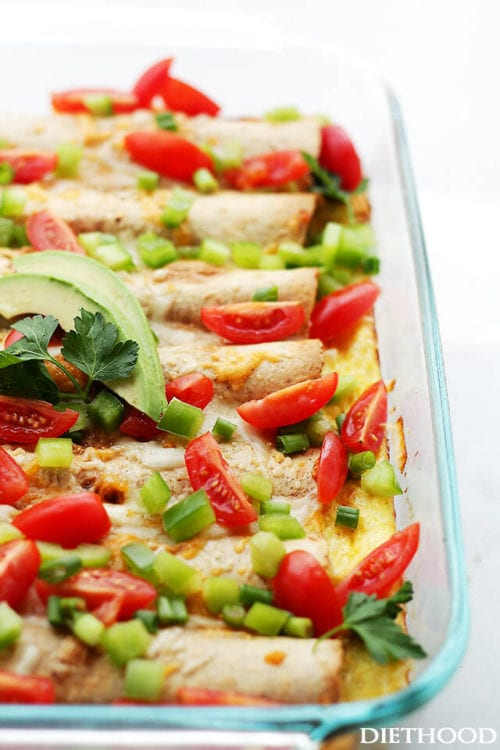 Overnight Breakfast Enchiladas by Diethood (featured on The Weary Chef)