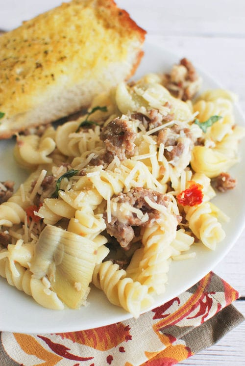 Pasta with Artichokes, Sausage, and Sun-dried Tomatoes by Fake Ginger
