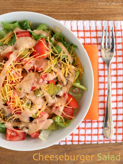 This easy salad is a healthy way to enjoy the taste of cheeseburgers!