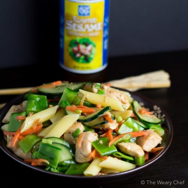 Surprise everyone at your next BBQ with this fun and easy Chinese Chicken Pasta Salad!