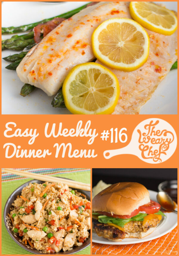 This easy weekly dinner menu features BBQ chicken burgers, chicken fried rice, slow cooker red beans and rice, and lots more!