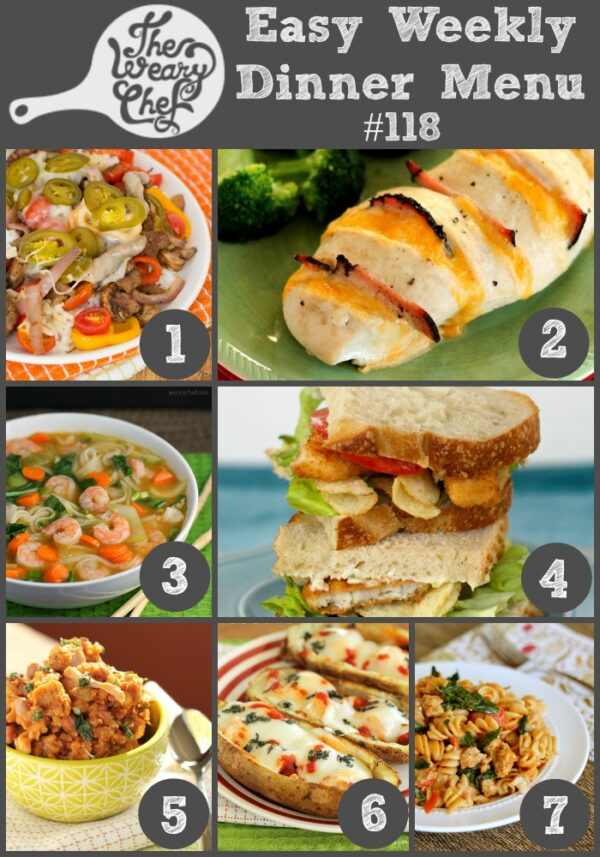 This dinner menu full of easy recipes includes Cheesesteak Rice Bowls, Slow Cooker Mexican Rice and Beans, Italian Chicken Potato Skins, and lots more!