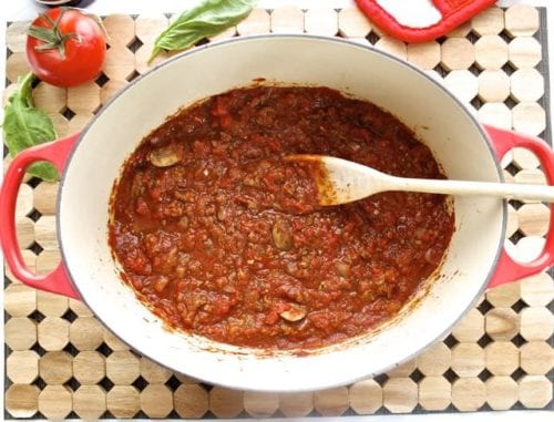 Meat Sauce with Red Wine and Mushrooms by Flavor the Moments
