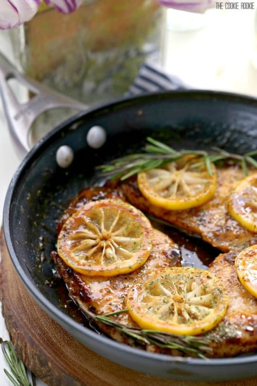 Skillet Lemon Chicken with White Wine Sauce by The Cookie Rookie